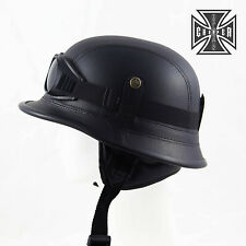 L Black WWII German Style Motorcycle Half Helmet Skull Cap Biker Chopper Novelty