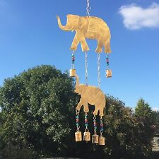 NEW LARGE ELEPHANT AND BELLS METAL WALL ART WIND CHIME DECORATION GARDEN MOBILE
