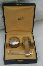 Coffret Toilette Bébé Art Déco: Brosse+peigne+boîte poudre cristal/métal argenté