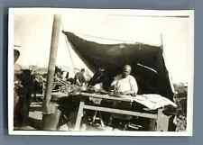 China, Tientsin (天津), Refugees Camp during 2nd Sino Japanese War  Vintage silver