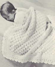 Vintage Knitting PATTERN to make Baby Shawl Blanket Afghan Carriage Cover Moss