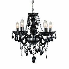Modern Classic Black & Chrome Marie Therese 5 Light Ceiling Pendant Chandelier