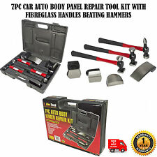 7pc AUTO BODY PANEL Repair Tool Kit con fibra di vetro MANIGLIE pestaggio MARTELLI