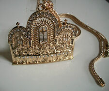 "ICED OUT GOLD FINISH LAST SUPPER JESUS PIECE  PENDANT W/36"" FRANCO CHAIN"