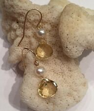 14k solid yellow gold Pearl And Citrine earrings