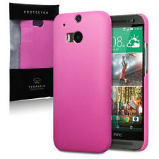 Solid Hot Pink Slim Armour Rubberised Back Cover Case for New HTC One M8 (2014)