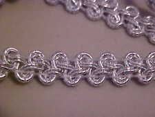 5 YDS METALLIC SILVER GIMP BRAID TRIM