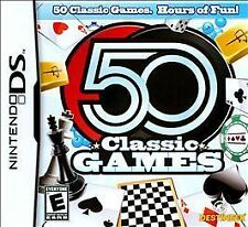 50 Classic Games DS Console Video Endless Hours Puzzle Chess Sudoku Free Cell