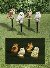 Garden Owl Owls Set of 4 Solar Porch Outdoor Lawn Yard Statue Ornament Stakes