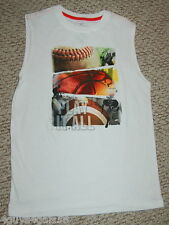 BOYS Muscle Tee Shirt T WHITE SPORTS Play it All 2XL 18