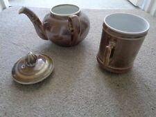 Vintage  Pillivuyt & Cie - 3 Part Brown Lustre Teapot/ Coffee Pot VGC