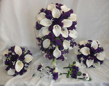 PURPLE LAPIS FULL WEDDING SET ~ Calla Lilies Roses Silk Wedding Flowers Bouquet