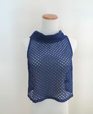 Women's Forever 21 Blue Cutout Collared Tank Top Shirt Size Small NWT
