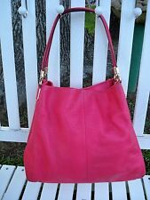 Coach Handbag Shoulder Bag Pink Pebbled Leather With Gold