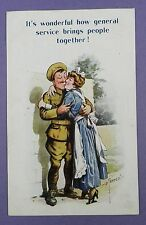 WW1 Related Postcard, It's wonderful how general service brings people together!