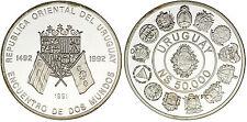 50.000 SILVER NEW PESOS/NUEVOS PESOS. URUGUAY. SERIE IBEROAMERICANA.1991. PROOF