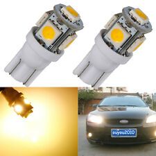 2x T10 5050 W5W 5 SMD 194 168 LED Warm White Car Side Wedge Tail Light Lamp Bulb