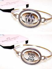 New w/Tag JUICY COUTURE Bangle Bracelet w/ VIVA LA JUICY & CRYSTAL Crown SPINNER
