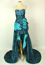 NEW $550 Jovani Size 6 High Low Strapless Prom Formal Cruise Long Blue Dress