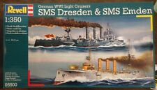 Revell 1/350 German WWI Light Cruisers SMS Dresden & SMS Emden Model Kit 05500