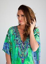 Kaftan dress, embellished Viscose multicolored print lace up kaftan