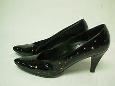 YVES SAINT LAURENT ITALY BLACK LEATHER w POLKA DOTS HIGH HEEL PUMPS SHOES 6.5