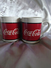 2 COLLECTIBLE PRE-OWNED VINTAGE 1996 COCA COLA COKE COFFEE MUGS BY GIBSON