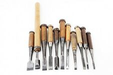 Japanese old craftsman nomi chisels include signed chisel lot of 11 (mn31)