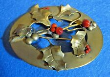 Vintage Edwardian Brass Color Metal Christmas Sash Pin Brooch Holly & Berries