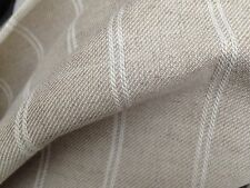 2 Metres Laura Ashley Linen Stripe in Natural Fabric Curtain Fabric Off The Roll