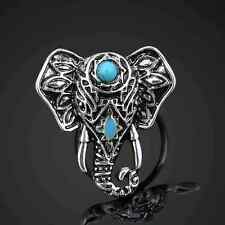 Ganesh Ganesa Silver Ring Elephant Turquoise Adjustable Buddhism Velvet Pouch