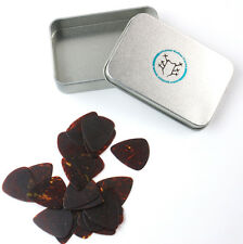 Collectible 20x Guitar Picks With Tin Box ,0.46mm flexible thin ,Dark Tortoise