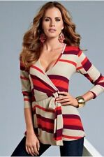 NEW S 6-8 SEXY Boston Proper Faux Wrap Striped Knit Cardigan Top $89 Sash Belt
