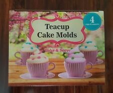 Teacup Cake Molds-Package Quantity,4 Silicone Cupcake Baking Cups Pink