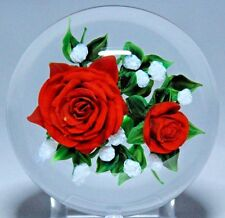 Large MAGNIFICENT Rick AYOTTE Red ROSES Baby Breath BOUQUET Glass PAPERWEIGHT