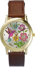SPIRIT STUNNING LADIES FLOWER PATTERN DIAL BROWN STRAP WATCH - ASPL44 - 911/6107