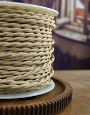 Sahara Beige Cloth Covered Wire 25ft Roll Lamp Cord - Antique Vintage Fan Rewire