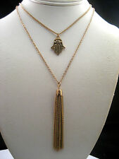 Macy's Gold Two Chain Strand Necklace Double Pendant Tassel Charm Crystal New