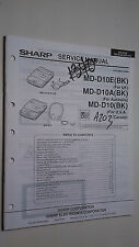Sharp md-d10 a e service manual original repair book stereo minidisk player