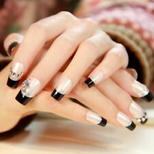 24pcs Long Full False Nails Raindrop Shape Rhinestone Press on Nails