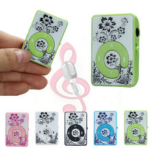 Mini Clip Flower Pattern MP3 Player Music Media Support Micro 32GB SD TF Card