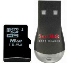 16GB Micro SDHC Memory Card with Adapter and USB Reader