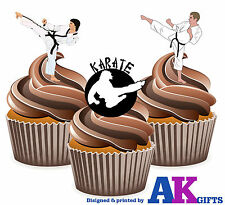 12 X Karate Martial Arts EDIBLE WAFER CUP CAKE TOPPERS STAND UPS Birthday