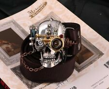 COOL Tin Alloy Skull Punk Men Belt Buckles Cowhide Genuine Leather Handmade