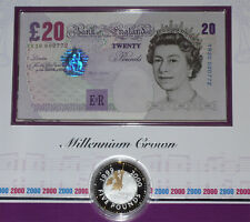 2000 MILLENNIUM SILVER PROOF CROWN + LOW ISSUE £20 BANKNOTE WITH YR20 CYPHER