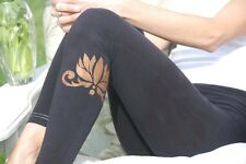 Black Yoga Leggings Hand Dyed in US with Rust Lotus Design XS-6XL inc Plus Sizes