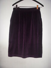 "VTG High Waisted 70's Plum Purple Velvet Knee Lenght Skirt Pockets 28"" USA suede"