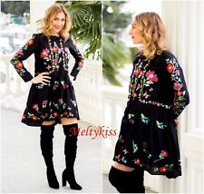 NWT ZARA WOMEN'S BLACK FLORAL MULBERRY SILK EMBROIDERED DRESS Sz-S BLOGGERS!
