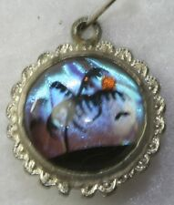 VTG DUAL SIDE FLAMINGO BIRD TALL BUTTERFLY WING PENDANT CHARM FOR A NECKLACE