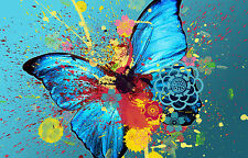 Framed Print - Abstract Blue/Teal Coloured Butterfly (Picture Poster Insect Art)